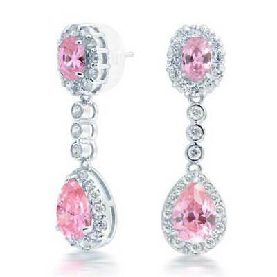 Pink Crown Teardrop CZ Statement Dangle Earrings  Simulated  Topaz Silver Plated