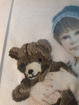 Embroidered Completed Girl Teddy Bear Cross Stitch Framed and Matted vintage