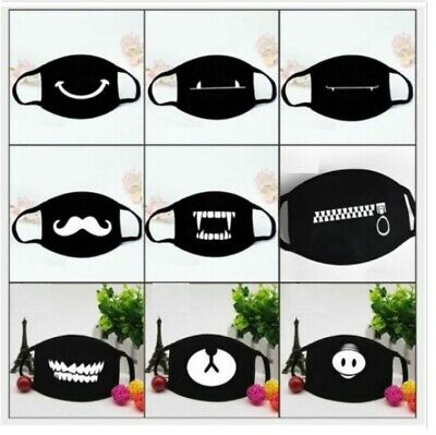 1PC Cute Expression Face Black Cotton Face Windproof Mask Half Face Mouth Masks