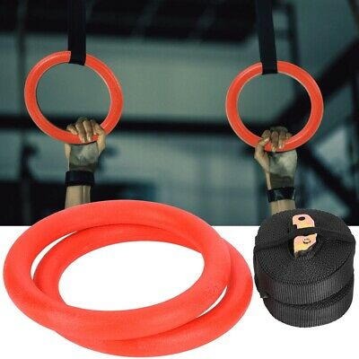 Pro Gymnastic Rings w/ Straps Gym Strength Training Pull Up Fitness Circle Rings