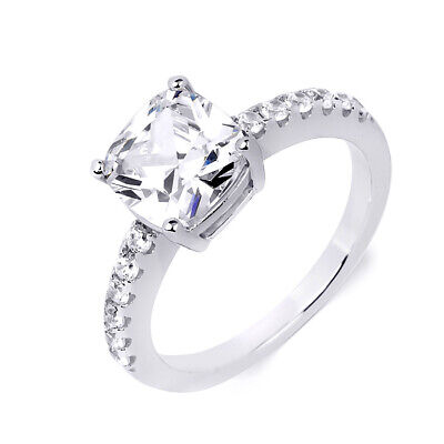 3.1 Ct Carat Womens Promise Engagement Ring Cushion Cut Sterling Silver Size 5-9