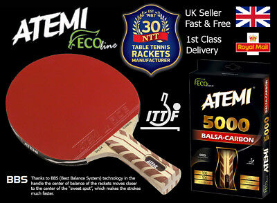 Atemi 5000 Balsa Carbon Pro Table Tennis Bat Anatomic Handle (ITTF Approved)