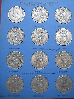 Half-Crown 29 Coin with 6 Silver Collection Set 1941~1967 to Date Whitman folder