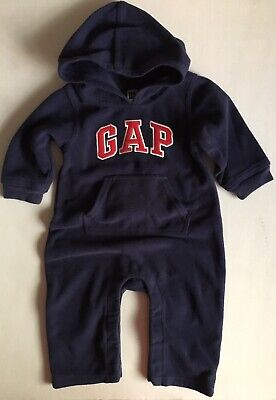 Baby Gap Infant Boys Hooded One Piece Navy Blue Outfit 6-12 Months