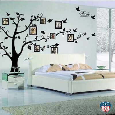 Large Family Tree Wall Sticker Photo Frame Removable Decal Black 99''x79'' USA