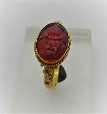 Ancient Roman High Carat Gold Ring Carnelian Intaglio Head Of Bull Depiction