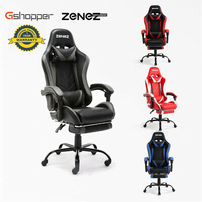 NEW Gaming Chair Computer Executive Office Chairs Racing PU Leather Footrest