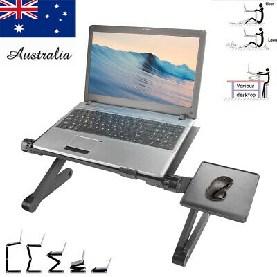 Adjustable Laptop Stand Desk Table Tray Portable Sofa Bed Mouse Pad Black