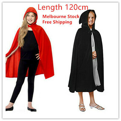 NEW Kids Black Red Cape Cloak Robe Halloween Vampire Witch Wizard Book Week