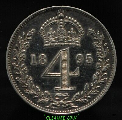 1895 Queen Victoria UK British 4 Pence Maundy Issue .925 Silver CLEANED/POLISHED