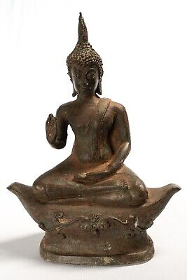 Antique Thai Style Sukhothai Bronze Protection Buddha Statue - 24cm/10""