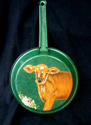 DECORATIVE PAINTED FRYING PAN COW DESIGN - Country