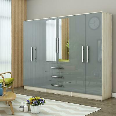 Large 4 door high gloss mirrored wardrobe - GREY - 3 Drawer - NEW COLOUR