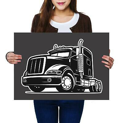 PAINTING ILLUSTRATION TRANSPORT RED TRUCK LORRY CITY ROAD POSTER PRINT BMP10497