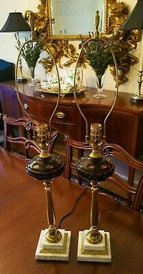 Pair Of Mid-Century Modern Brass Cranberry Glass Marble Table / Buffet Lamps