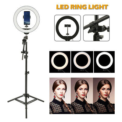 "10"" LED Ring Light with Stand Dimmable Lighting Kit For Makeup Youtube Live CA"