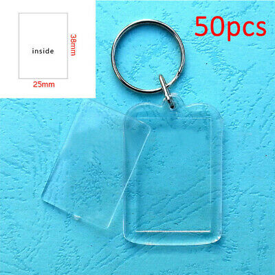 50x Clear Acrylic Blank Frame Keyrings, Photo Picture Insert Keyfobs Keychains