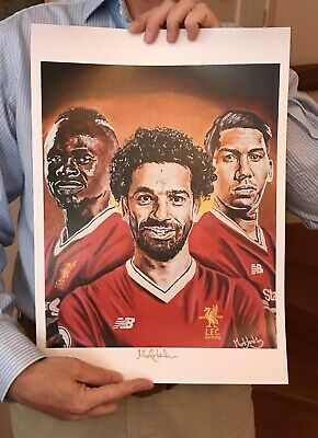Liverpool Fc Salah, Firmino, Sane Art Print Signed By The Artist