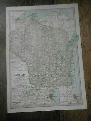 Original 1902 Map of Wisconsin by The Century Company.