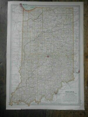 Original 1902 Map of Indiana by The Century Company. U.S.A