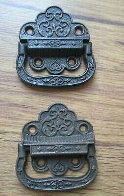 Pair Antique Cast Iron Trunk Handles Fancy Eastlake Victorian 1871 2 Pc