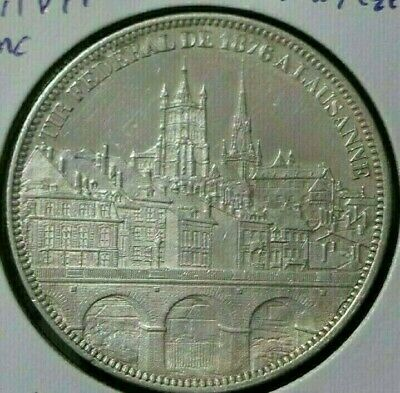 Switzerland 1876 5 Francs Lausanne City View Shooting Taler Unc Silver Thaler