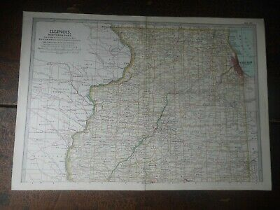 Original 1902 Map of Illinois by The Century Company. U.S.A