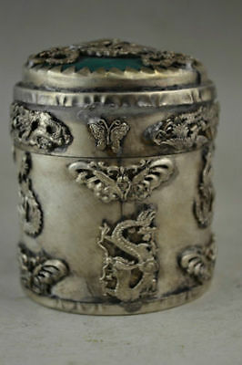 Exquisite Chinese old silver copper Carved Vivid Dragon Butterfly Toothpick