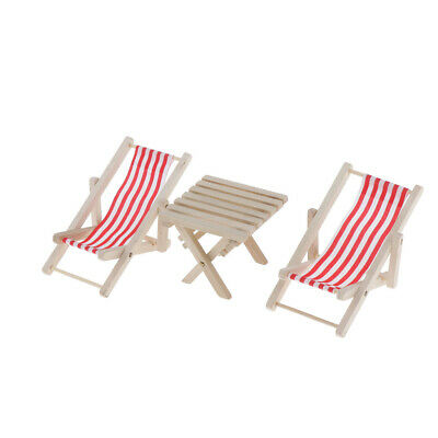 1/6 Dollhouse Miniature Beach Table & Red Striped Chairs Set Garden Ornament