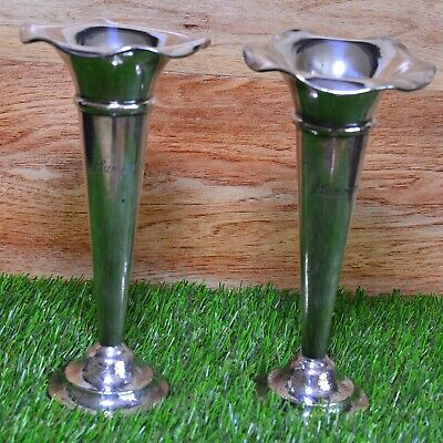 Mappin & Webb Silver Plate Trumpet Vases – Art Deco Pair – Planished Finish Base