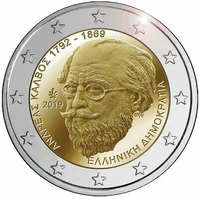 2 euro Greece 2019 - 150 years of the death of Andreas Kalvos UNC