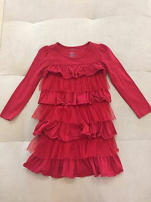Baby Gap Girls Burgundy Red With Ruffles Dress Size 4T Holliday