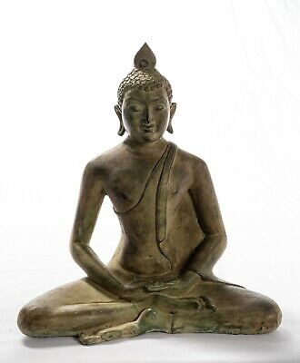 19th Century Antique Bronze Sri Lanka Seated Mediation Buddha Statue - 33cm/13""