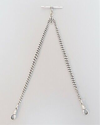 All original antique solid silver double watch chain, BH Britton, Chester 1923
