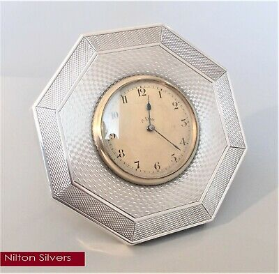 Antique art deco solid silver 8 day desk clock, Harrison & Sons (?), Bham 1925