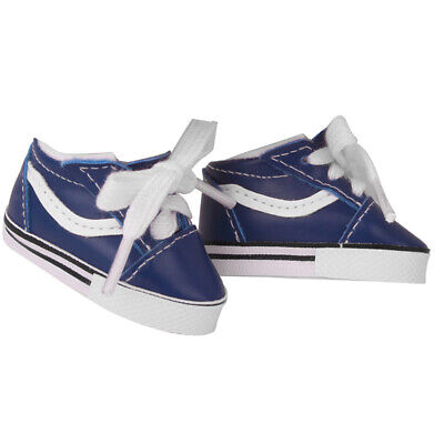 1 Pair Blue Flat Canvas Shoes PU Leather for 14.5inch Mellchan Doll Baby Toy