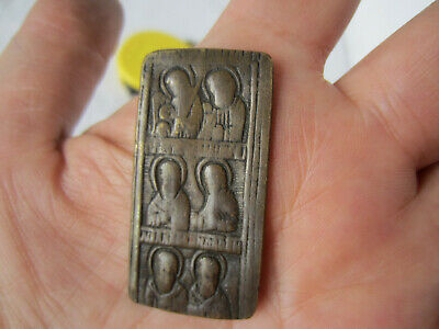 Antique RUSSIAN ORTHODOX small Bronze pocket family icon,Russo-Turkish War 19thC