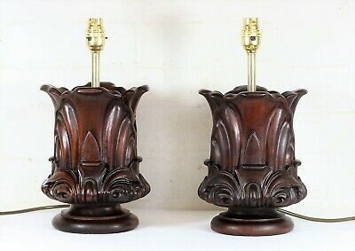 A Pair of Very Fine Antique English Mahogany Art Nouveau Wooden Table Lamps