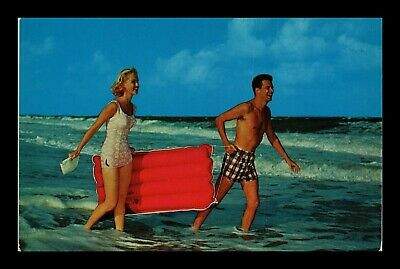 Us Postcard Couple Ready To Ride The Surf Beach Tourism