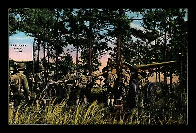 Us Linen Postcard Artillery Firing United States Military Soldiers Unused Back