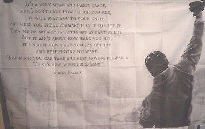 ROCKY BALBOA Stallone Motivational Quotes Fabric Wall Tapestry Gym 3x5 Feet