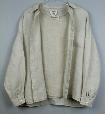 Talbots Womens Irish Linen 2 PC Set Blazer /Top Size 16 Beige EUC #14185