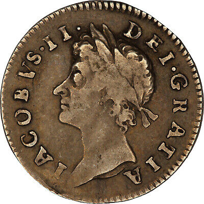 Coin- threepence, King James II Great Britain, 1687 silver