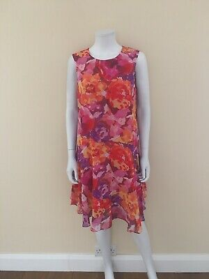 New Womens Donna Morgan Pink Floral A Line Dress Chiffon UK 14 With Tags