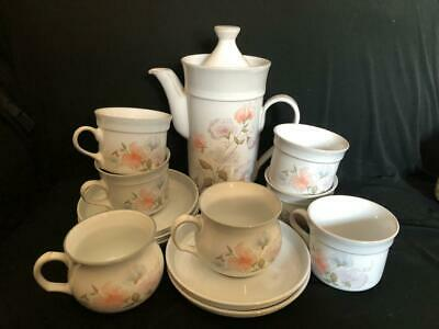 Denby Dauphine / Encore  13 X Items Cups Saucers Sugar Bowl & Coffee Pot