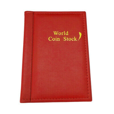 120 Slots Coin Holder Collector Storage Penny Money Pocket PU Album Red