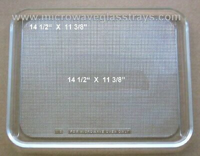 "Vintage Recycled Microwave Oven Glass Plate / Tray 14 1/2"" X 11 3/8"""