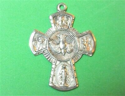 Vintage Catholic Afco Sterling Silver Scapular Cross Pendant Dove Holy Spirit