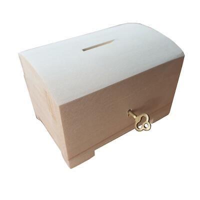 Wooden Jewellery Small Chest - Moneybox Closed For Key, Unpainted
