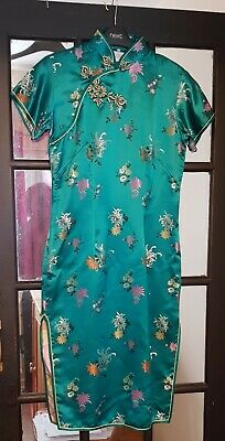 Vintage Chinese Silk Dress Cheongsam Turquoise Traditional Embroidery UK 8-10